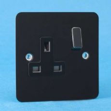 Varilight 1 Gang 13 Amp Switched Electrical Plug Socket Ultra Flat Iridium Black Black Insert XFI4DB